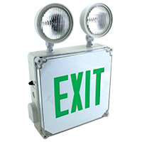 Orbit ESBL2N4-G Wet Location Emergency Light/Exit Sign Combo Unit With Battery Back-Up
