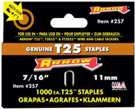 Arrow 7/16in Staples for T25, 1000 pack