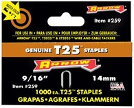 Arrow 9/16in Staples for T25, 1000 pack