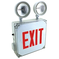 Orbit ESBL2N4-R Wet Location Emergency Light/Exit Sign Combo Unit With Battery Back-Up