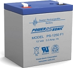 Power-Sonic 12V, 5.0 AH SLA Battery, F1 Terminals