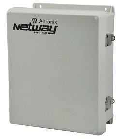 Altronix NETWAYSP3LWPX  Single 1G Fiber SFP, 3 port 10/100/1000 (2 ports PoE/PoE+ 60W Hi-PoE & 1 port PoE/PoE+); Hardened 75W Power Supply/Optimized LiFePO4 Battery Charger & Switch Boards mounted in larger NEMA4/4X, IP66 rated Outdoor enclosure; LINQ