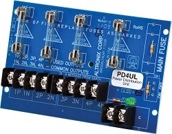 Altronix PD4UL  Power Distribution Module, 4 Fused Outputs up to 28VAC/VDC, Board