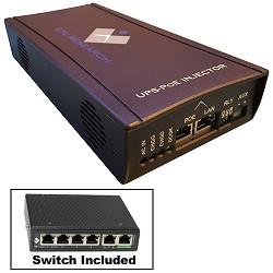 BTU Research BTU-HIPOE+SW4P, Brownout Buddy UPS-POE Injector & 4-port unmanaged switch