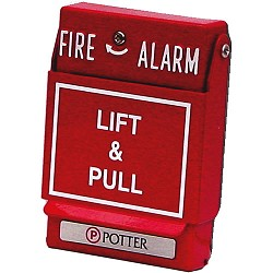 Potter Electric P32-1T-LP-KL Dual Action Fire Pull Station - Key Reset - Red