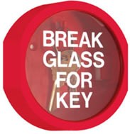 STI 6720 Break Glass Stopper Keys Under Plexiglas